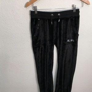 BCBGMaxAzria Capri Black Velvet pull on pants S